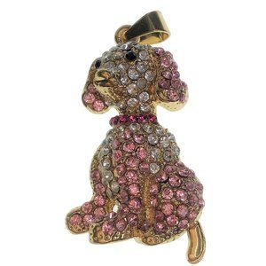 Puppy Dog Crystal Pendant Gold Tone